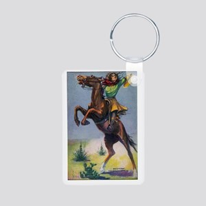 Cowgirl on Bucking Horse Aluminum Photo Keychain