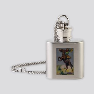 Cowgirl on Bucking Horse Flask Necklace