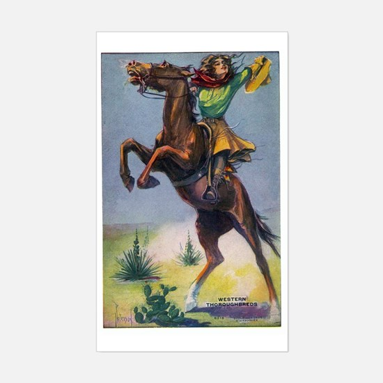 Cowgirl on Bucking Horse Sticker (Rectangle)