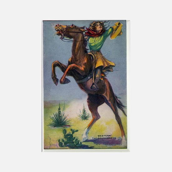 Cowgirl on Bucking Horse Rectangle Magnet