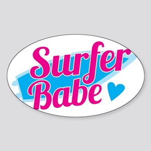 Surfer babe with a blue surfboard Sticker (Oval)