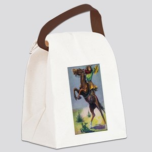 Cowgirl on Bucking Horse Canvas Lunch Bag