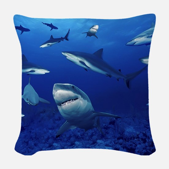 Sharks! Woven Throw Pillow