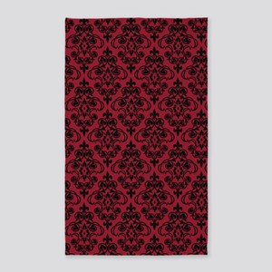 Chili Pepper & Black Damask #36 3'x5' Area Rug