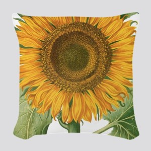 Vintage Sunflower Basilius Bes Woven Throw Pillow