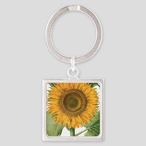 Vintage Sunflower Basilius Besler Square Keychain