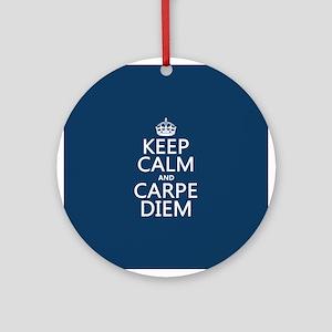 Keep Calm and Carpe Diem Ornament (Round)