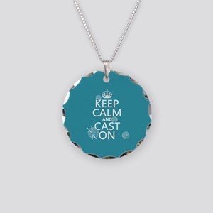 Keep Calm and Cast On Necklace Circle Charm