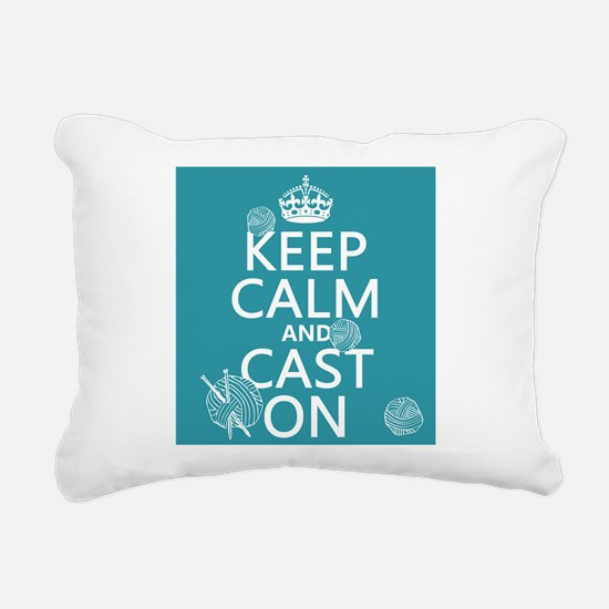 Keep Calm and Cast On Rectangular Canvas Pillow