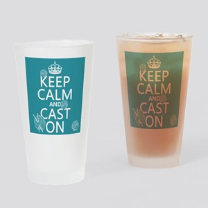Keep Calm and Cast On Drinking Glass