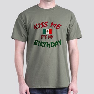 Kiss Me with Mexican Flag Dark T-Shirt in 8 Colors