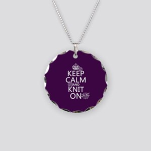 Keep Calm and Knit On Necklace Circle Charm
