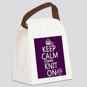 Keep Calm and Knit On Canvas Lunch Bag