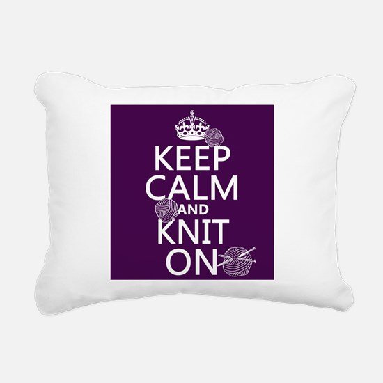 Keep Calm and Knit On Rectangular Canvas Pillow