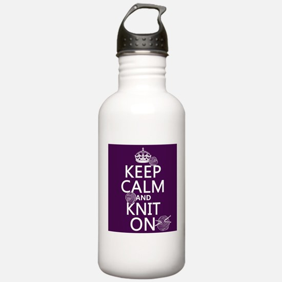 Keep Calm and Knit On Sports Water Bottle