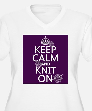 Keep Calm and Knit On Plus Size T-Shirt
