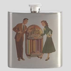 Mid-century Jukebox Illustration Flask