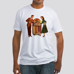 Mid-century Jukebox Illustration Fitted T-Shirt