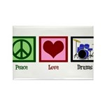 Peace Love Drums Rectangle Magnet (100 pack)