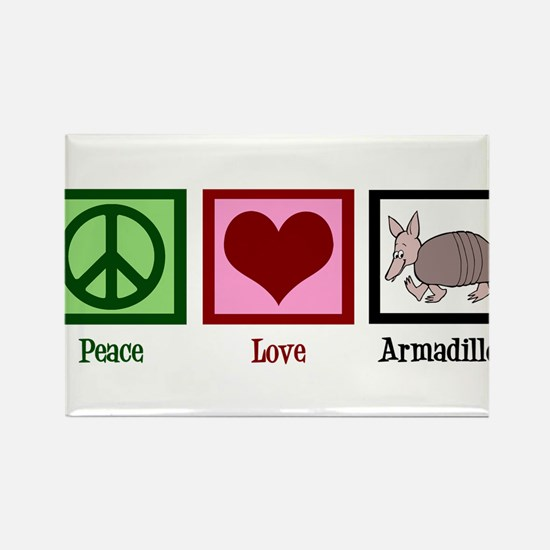 Peace Love Armadillos Rectangle Magnet (10 pack)