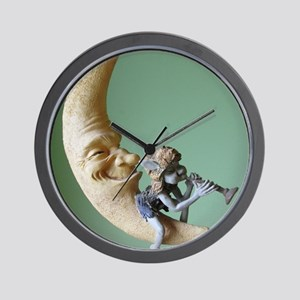 Fairy Blowing Horn on the Moon Wall Clock