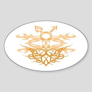 Transgender Tribal Heart Oval Sticker