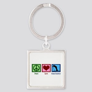 Peace Love Cross Country Square Keychain