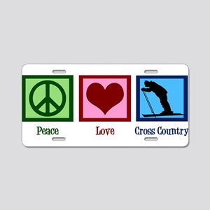 Peace Love Cross Country Aluminum License Plate
