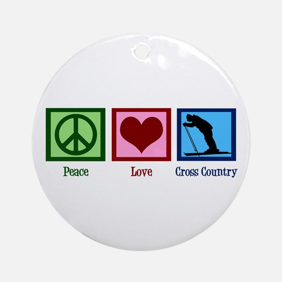 Peace Love Cross Country Ornament (Round)
