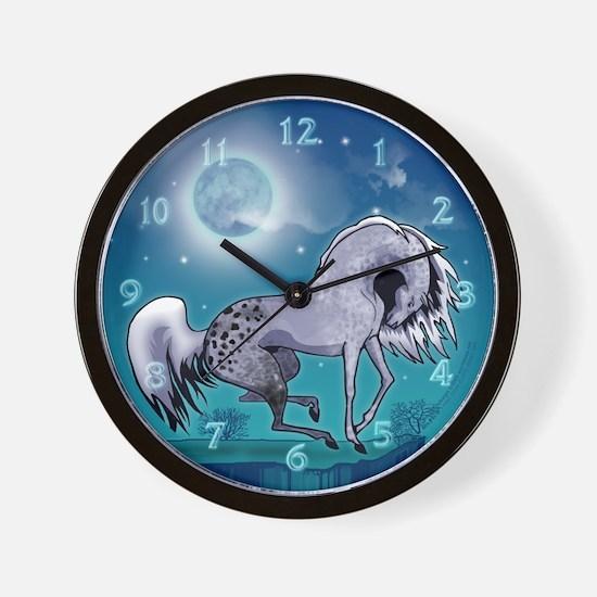 Appaloosa Horse by Moonlight Wall Clock