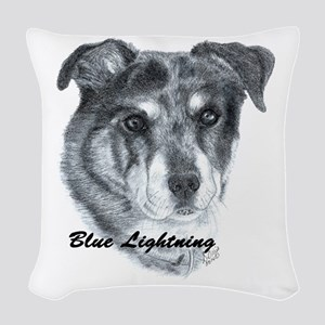 BLUE LIGHTNING Woven Throw Pillow