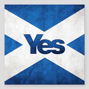 "Yes Scotland flag Square Car Magnet 3"" x 3"""