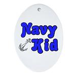 Navy Kid (blue) Oval Ornament