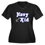 Navy Kid (blue) Women's Plus Size V-Neck Dark T-S