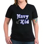 Navy Kid (blue) Women's V-Neck Dark T-Shirt