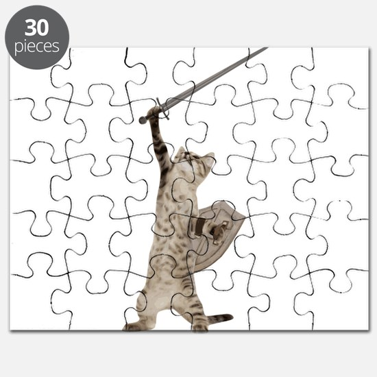 Heroic Warrior Knight Cat Puzzle