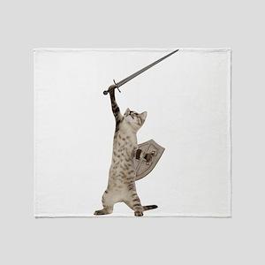 Heroic Warrior Knight Cat Throw Blanket