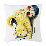 Kitten at Play Woven Throw Pillow
