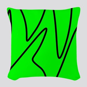 Black On Neon Green Abstract Waves Woven Throw Pil