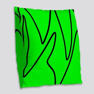 Black On Neon Green Abstract Waves Burlap Throw Pi