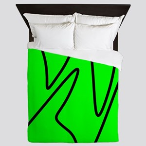 Black On Neon Green Abstract Waves Queen Duvet