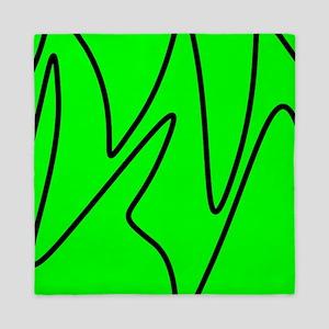 Black On Neon Green Abstract Waves Queen Duvet