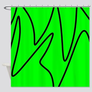 Black On Neon Green Abstract Waves Shower Curtain