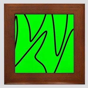 Black On Neon Green Abstract Waves Framed Tile