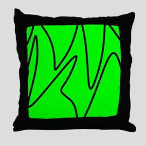 Black On Neon Green Abstract Waves Throw Pillow