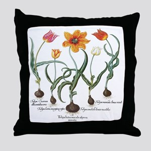 Vintage Tulips by Basilius Besler Throw Pillow