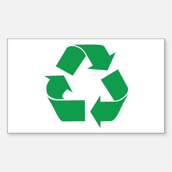 Green Recycle Rectangle Stickers