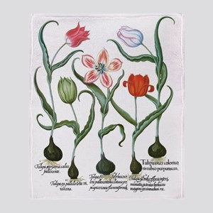 Vintage Tulips by Basilius Besler Throw Blanket