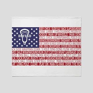 Lacrosse Defense Flag Throw Blanket
