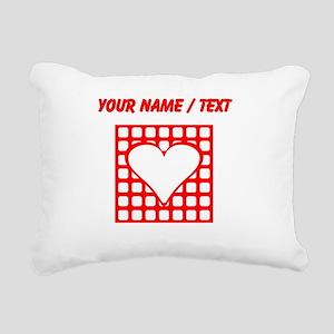 Custom Red Blocks Heart Square Rectangular Canvas